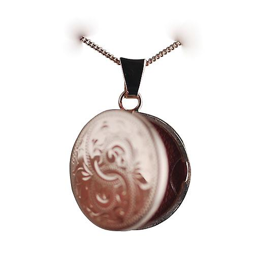 9ct Rose Gold 20mm hand engraved flat round Locket with a curb chain