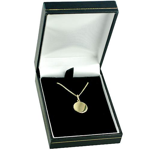 18ct Gold 13mm round St Christopher with Curb chain
