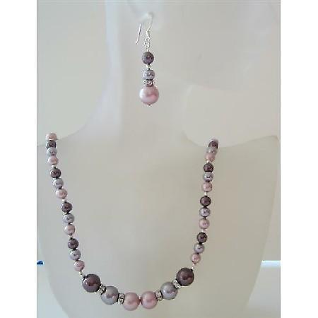 Powder Rose Pearls Jewelry Set Tri Pearls Burgundy Mauve Necklace Set
