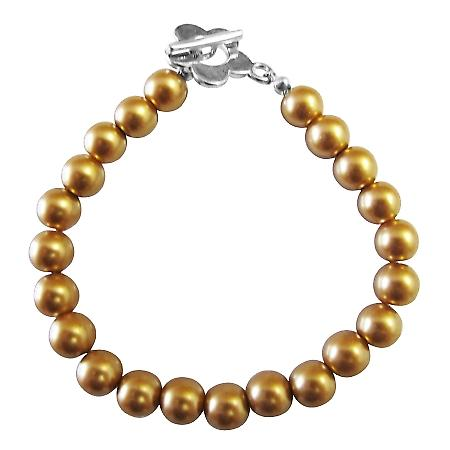 Traditional Jewelry Gold Pearls Bracelet w/ Flower Toggle Clasp