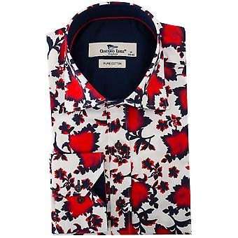 Claudio Lugli Vivid Red Leaf Print Mens Shirt