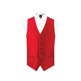 Dobell Mens rote Weste passen regelmäßige Dupionseide 5 Button