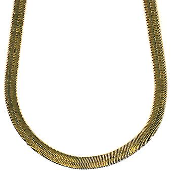14K Gold Plated Herringbone Chain Necklace 7mm x 24 inches Brass
