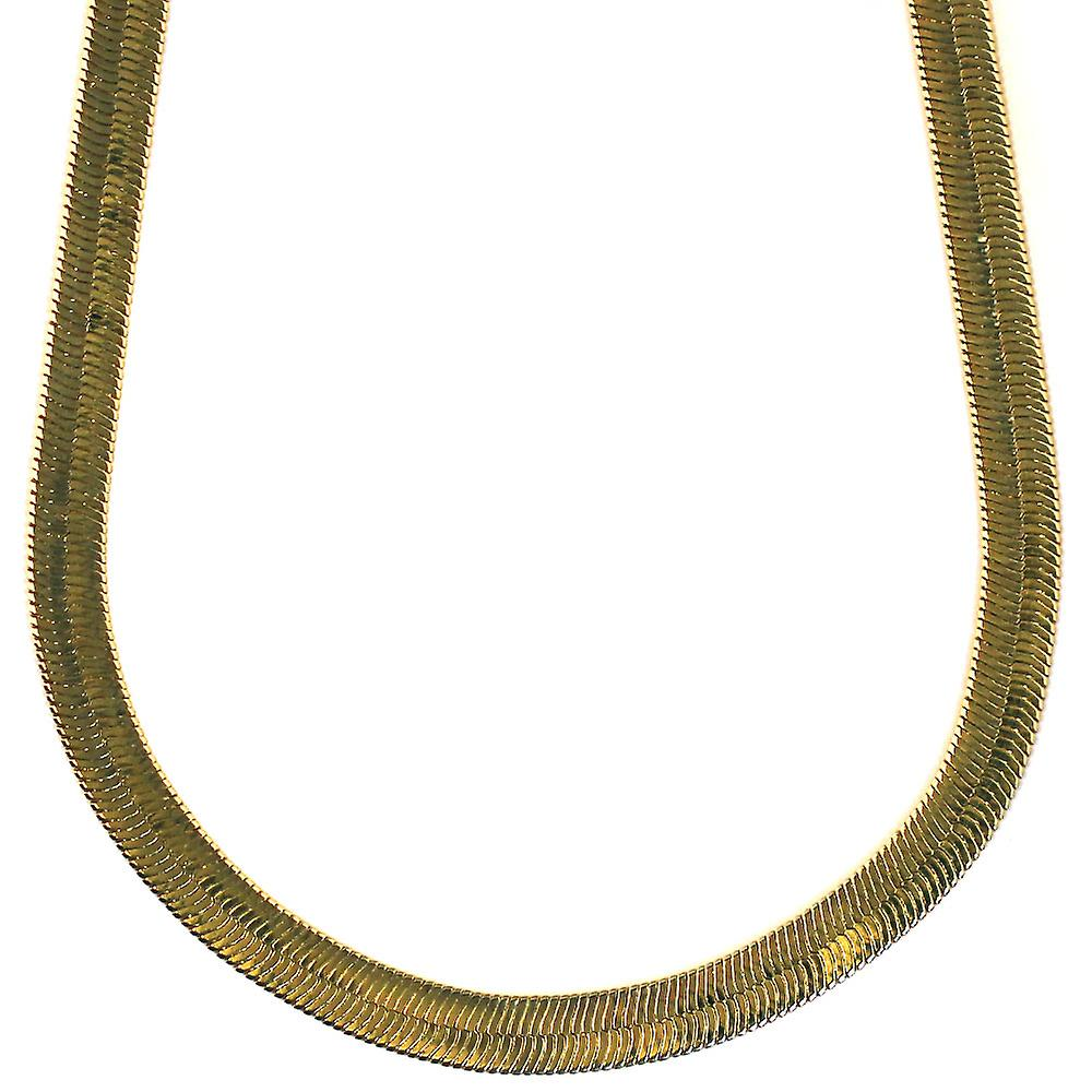 14K Gold Plated Herringbone Chain Necklace 7mm x 24 inches long High Quality