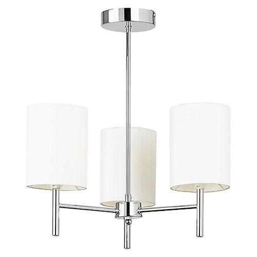 Endon BRIO-3CH Brio Modern Semi Flush Ceiling Light With Ivory Faux Silk Shades