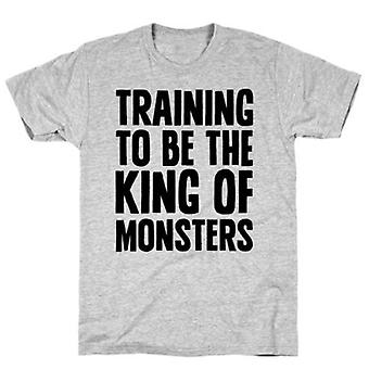 Training to be the king of monsters parody grey t-shirt