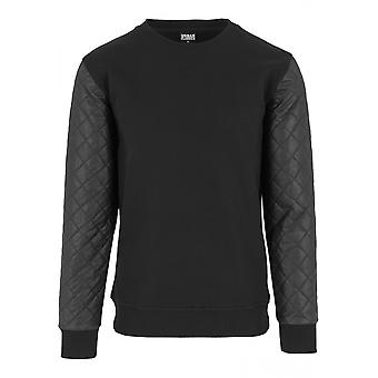 Urban classics men's sweater quilt leather imitation
