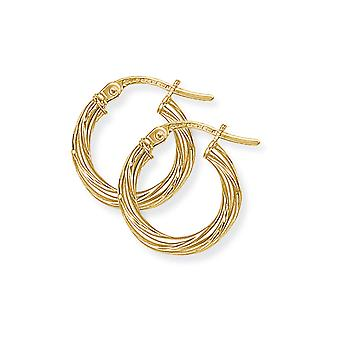 Jewelco London Ladies 9ct Giallo Oro Livolgo Candy Twist Hoop Orecchini - 13mm
