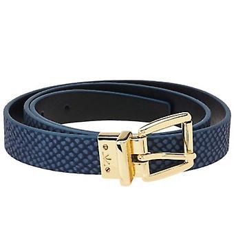 Isaac Mizrahi Live! Reversible Leather Belt XS S RegalBlue Black A264211
