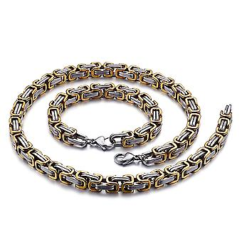 5mm royal chain bracelet men's necklace men's chain necklace, 35cm silver / gold stainless steel chains
