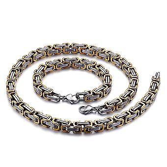 Bracelet de chaîne royale 5mm collier homme pour hommes, 35cm argent / or chaînes en acier inoxydable