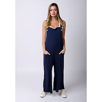 Amber loose fit jersey dungarees navy