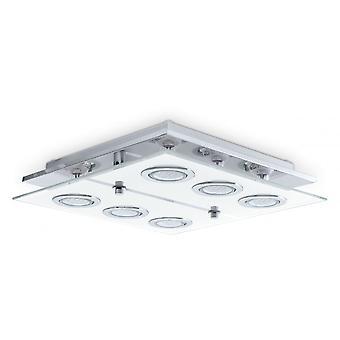 Eglo Cabo Modern Steel Semi Flush Glass LED 6 Spotlight GU10