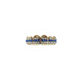 Grillz Gold Smoothice 48 Points Of Cz Sapphire N Clear Diamonds [Top]