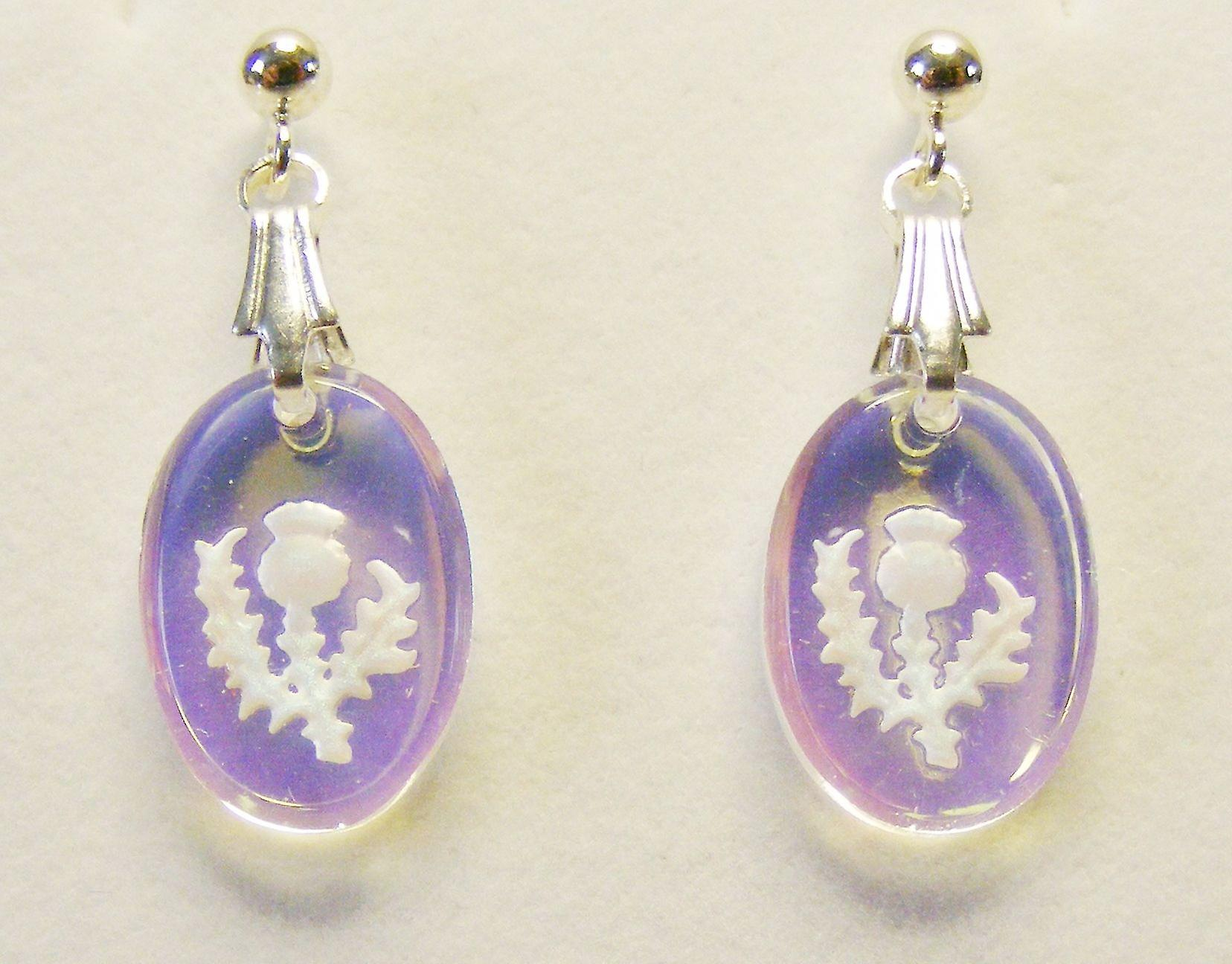 Aurora Borealis Thistle Oval Earrings and Small Pendant set