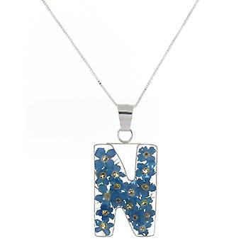 Shrieking Violet Sterling Silver Forget Me Not Flowers N Initial Pendant