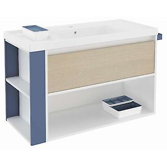 Bath+ 1 Drawer Cabinet + Shelf With Resin Basin Oak-White-Blue 100cm