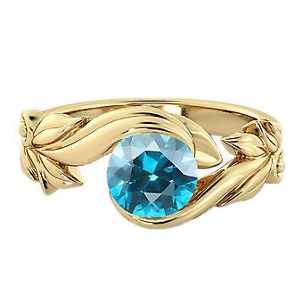 1.00 anello topazio blu CT 14k oro giallo fiore foglie foglia
