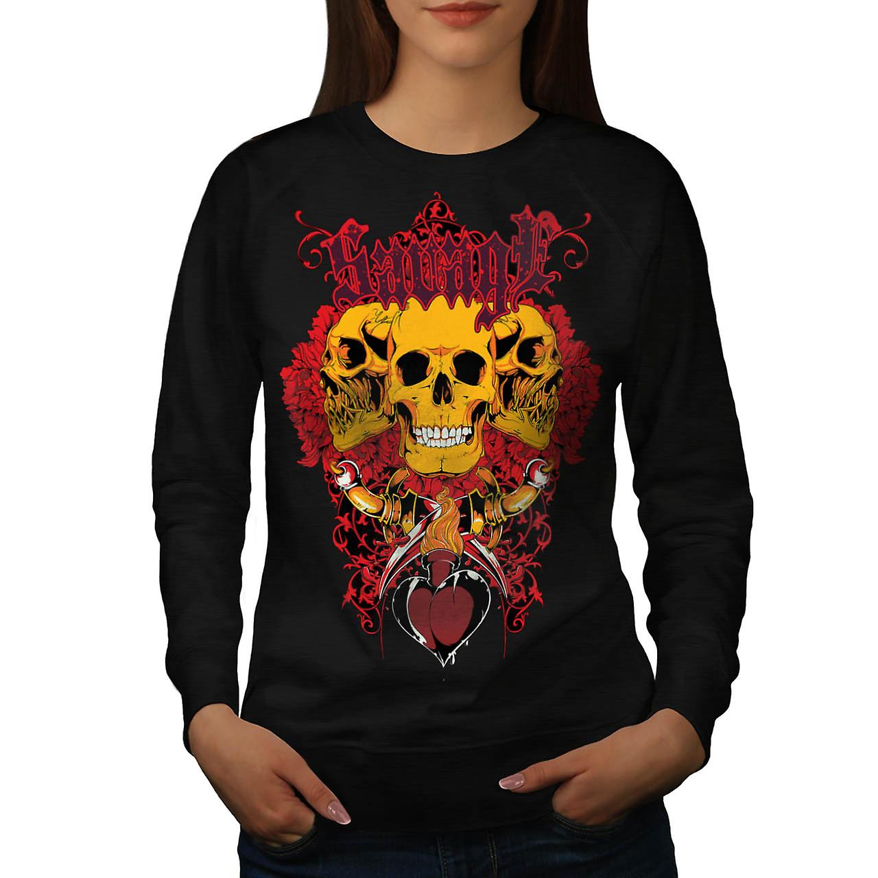 Savage Monster Death Giant Skull Women Black Sweatshirt | Wellcoda