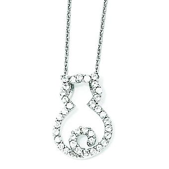 Sterling Silver CZ Cat 18 Inch Necklace - 18 Inch