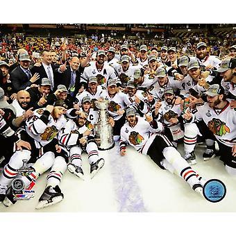 Die Chicago Blackhawks feiern Gewinner Spiel 6 der 2013 Stanley Cup-Finale Fotodruck