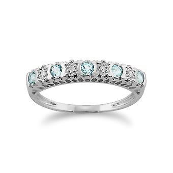 Gemondo 9ct vitguld 0.24ct Aquamarine & Diamond halv evighet Ring