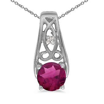 14k White Gold Round Rhodolite Garnet And Diamond Pendant with 18