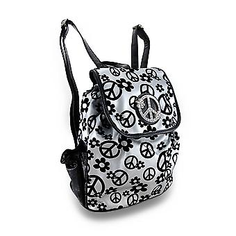 Flowers / Peace Signs Rhinestone Peace Symbol Drawstring Backpack