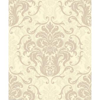 Debona Chelsea Damask Taupe Cream Effect Feature Wallpaper