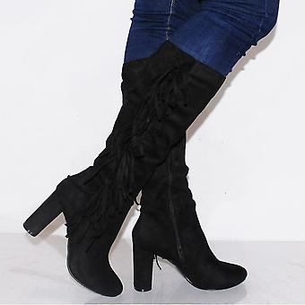 Koi Couture Ladies Kd10 Black Fringe Knee High Boots