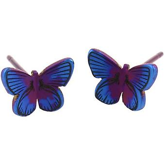 Ti2 Titanium Woodland Small Butterfly Stud Earrings - Purple