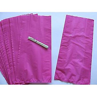 SALE -  30 Long Cellophane Party Bags - Hot Pink | Kids Party Loot Bags