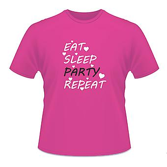 Mine damer Hot Pink Hen Night Party Bachelorette 'Eat Sleep parti Repeat' T-Shirt