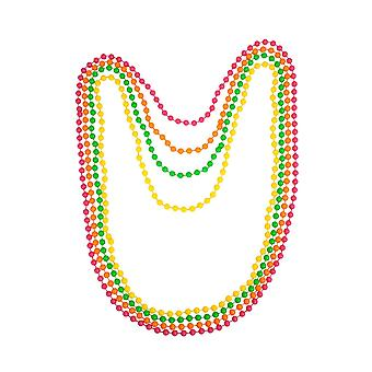 4Pc 80s Neon Pink, Orange, Green & Yellow Necklace Beads Fancy Dress Accessory