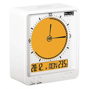 Balance Radio Controlled Alarm Clock Digital White/Orange