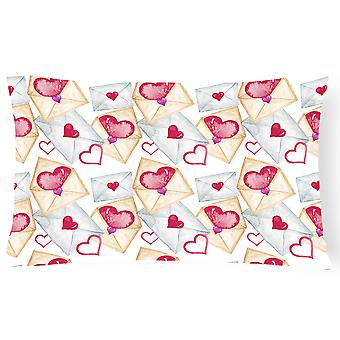 Watercolor Love Letters Canvas Fabric Decorative Pillow
