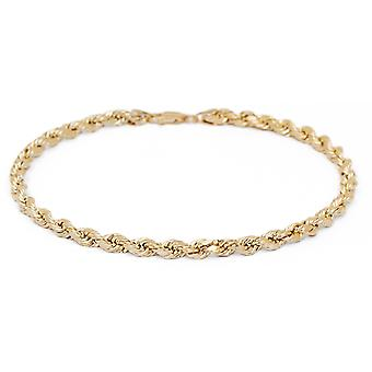 Floreo 10k Fine Gold Solid Diamond Cut Rope Chain Bracelet and Anklet, 2.5mm (0.1