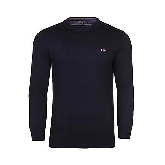 Crew Neck Cott/Cash Sweater - Navy