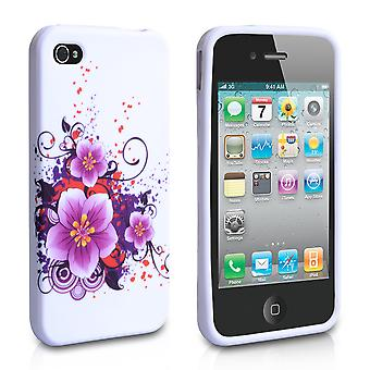 Yousave Accessories Iphone 4 And 4s Flower Gel Case - Purple