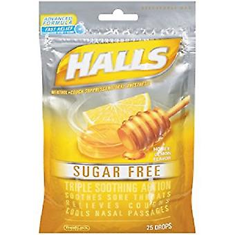 Halls Triple Soothing Action Oral Anesthetic Drops Sugar Free Honey Lemon