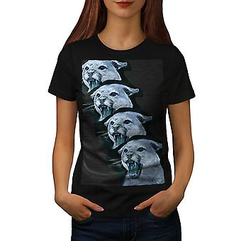 Wild Animal Tiger Cat Women BlackT-shirt | Wellcoda