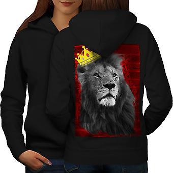 Royal Lion Королевство женщин BlackHoodie обратно | Wellcoda