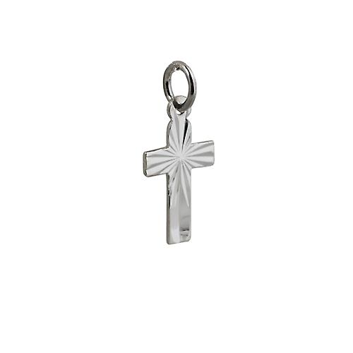 Silver 15x11mm diamond cut sunray flat latin Cross