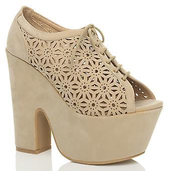 Ajvani Womens hohen Plattform Block klobige Ferse Demi Keil ausgeschnitten Schuhe Ankle-Boots Stiefeletten