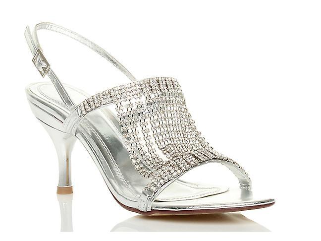 Ajvani womens mid high heel slingback diamante wedding bridal prom draped sandals shoes
