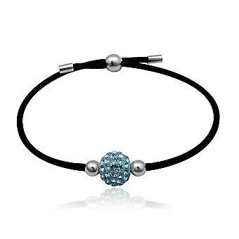 Bracelet stretch noir et Perle en Cristal Bleu et Argent 925
