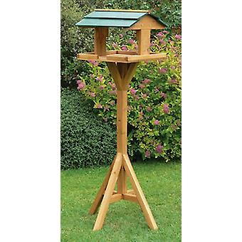 Kingfisher Premium trä fågelbord & Stand traditionella utfodringsplatsen