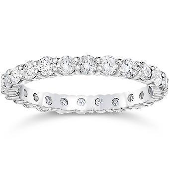 Platinum 1 3/4ct Prong Diamond Eternity Ring Womens Wedding Band
