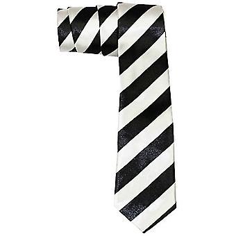 Slanke satijn tie - DIAGONAAL zwart / zilver