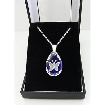 Ice Blue Small Teardrop Butterfly Crystal Pendant